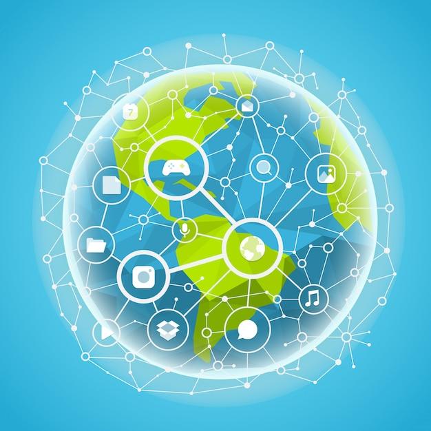 ソーシャルメディアネットワークベクトルの概念。地球上の抽象コミュニケーション方式 Premiumベクター