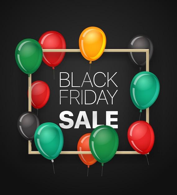 Черная пятница продажа баннер с воздушными шарами. Premium векторы