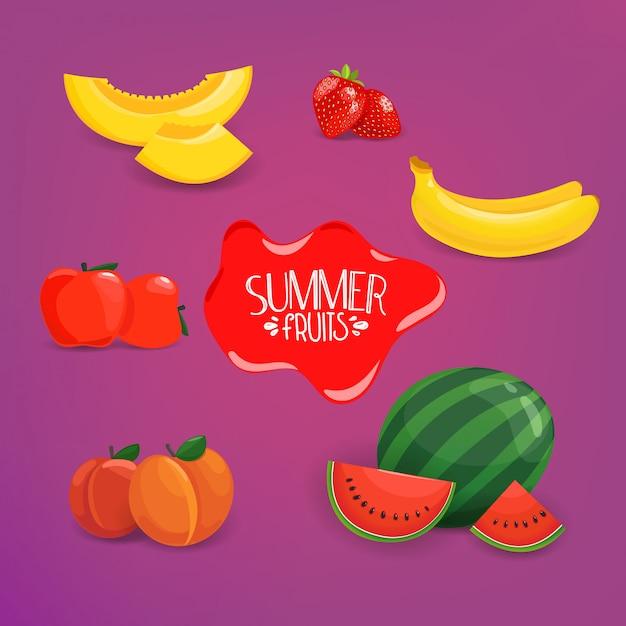 Летние фрукты вектор набор на фиолетовом фоне Premium векторы