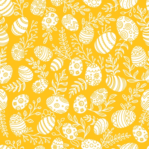 卵と春の花のイースターパターン。シームレスなベクターパターン Premiumベクター