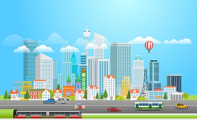 Современный мегаполис с авто. Premium векторы