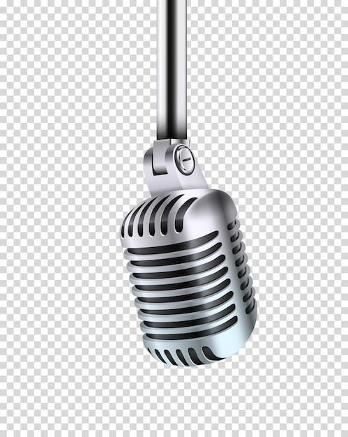 Металлический сияющий микрофон Premium векторы