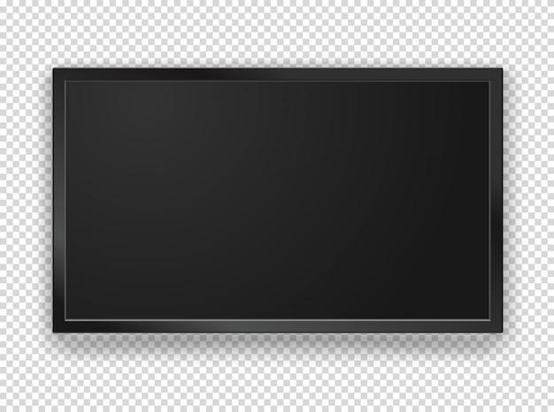 空白の画面とモダンな黒いテレビフレーム Premiumベクター