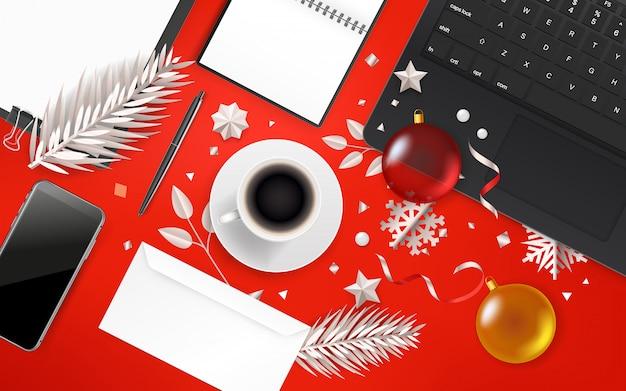 クリスマスアクセサリーオフィスオブジェクト。 Premiumベクター