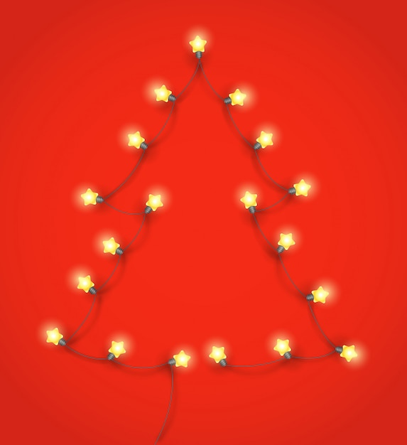 照明ガーランドから作られた抽象的なクリスマスツリー Premiumベクター