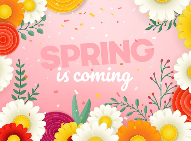 春のセールのベクターバナー。花の写実的なベクトルイラスト Premiumベクター