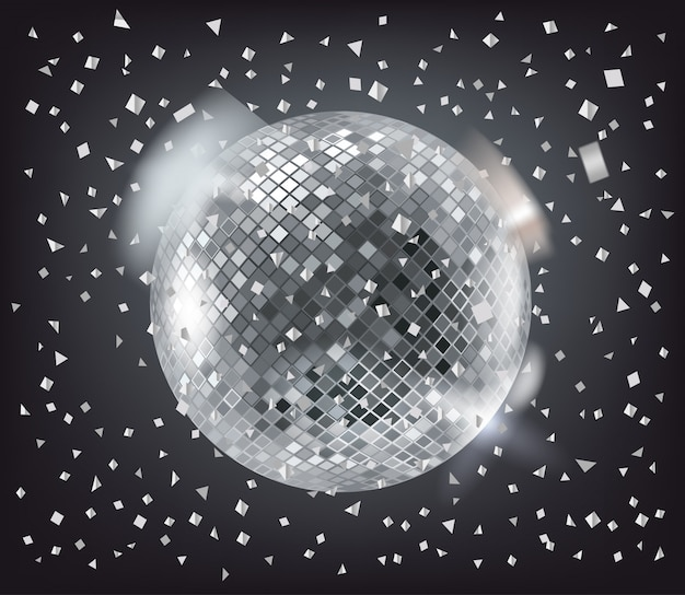 ディスコ球と暗闇の中に銀の紙吹雪 Premiumベクター