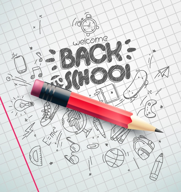 古典的な鉛筆、学校概念に戻る Premiumベクター