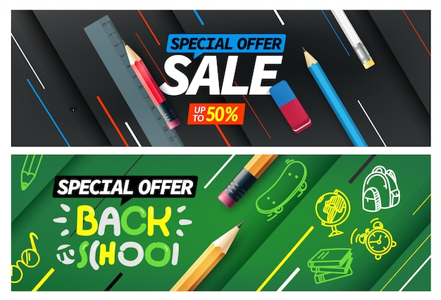新学期セール、特別オファーバナーセット Premiumベクター