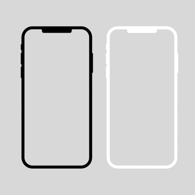 スマートフォンのベクトル。黒と白のデバイス。スクリーンショットのテンプレート Premiumベクター
