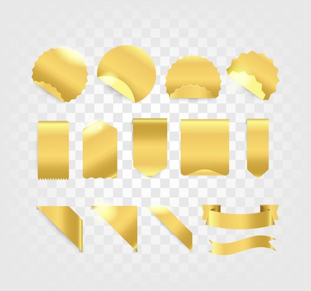 透明な背景に分離された黄金のタグとリボンコレクション Premiumベクター