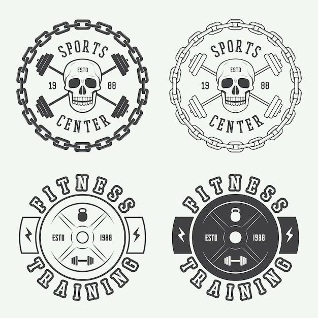 ジムのロゴ、ラベル、バッジ Premiumベクター