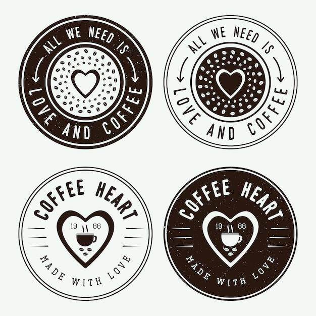 Кофейные логотипы, этикетки Premium векторы
