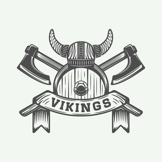 ヴァイキングのやる気を起こさせるロゴ Premiumベクター