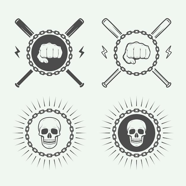 格闘技や格闘技のロゴ Premiumベクター