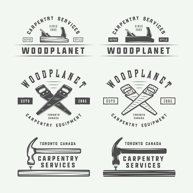 Набор старинных плотницких, столярные и механические этикетки, значки, эмблемы и логотип. Premium векторы