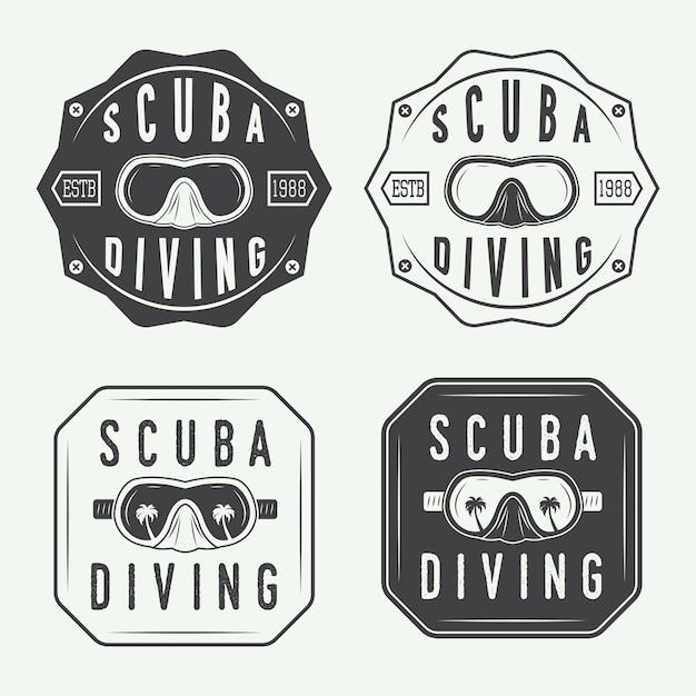 ダイビングのロゴセット、ラベル Premiumベクター