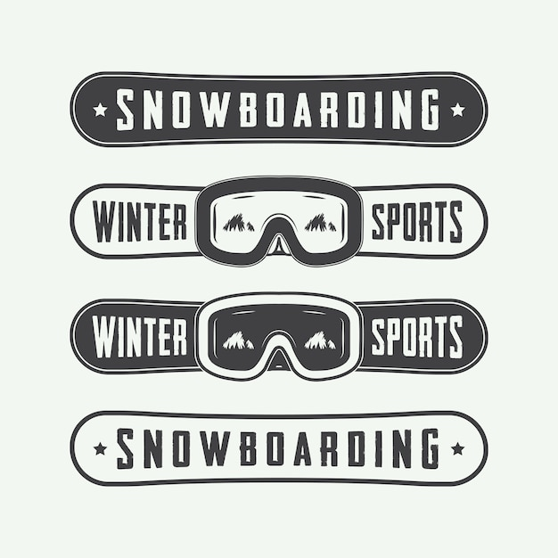 Набор логотипов для сноубординга Premium векторы