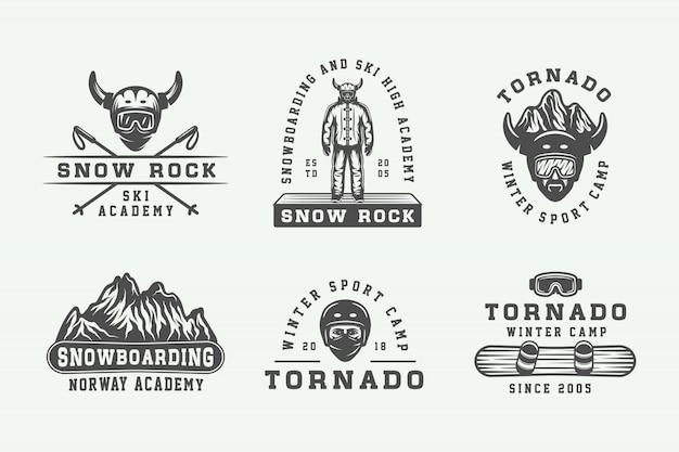 Сноуборд, лыжи или логотипы, значки Premium векторы