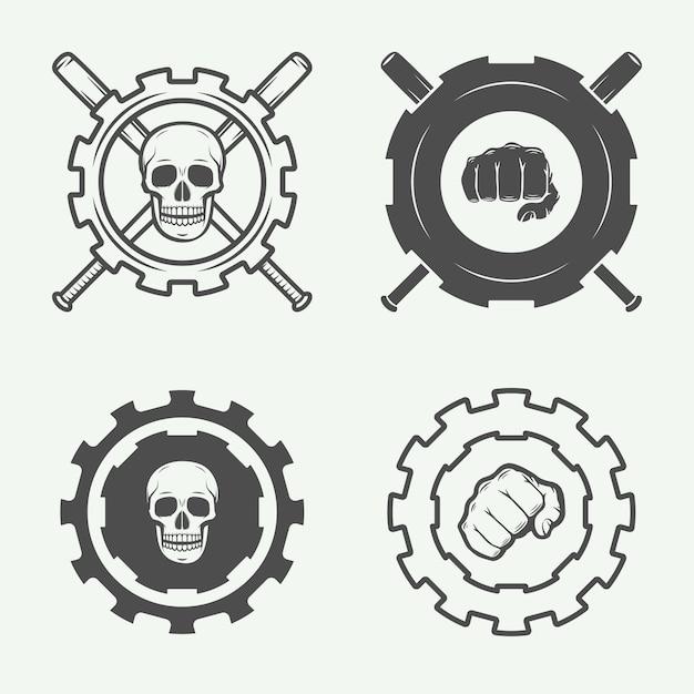 格闘クラブのロゴ Premiumベクター