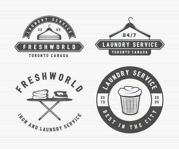 Стирка, чистка логотипов, эмблем Premium векторы