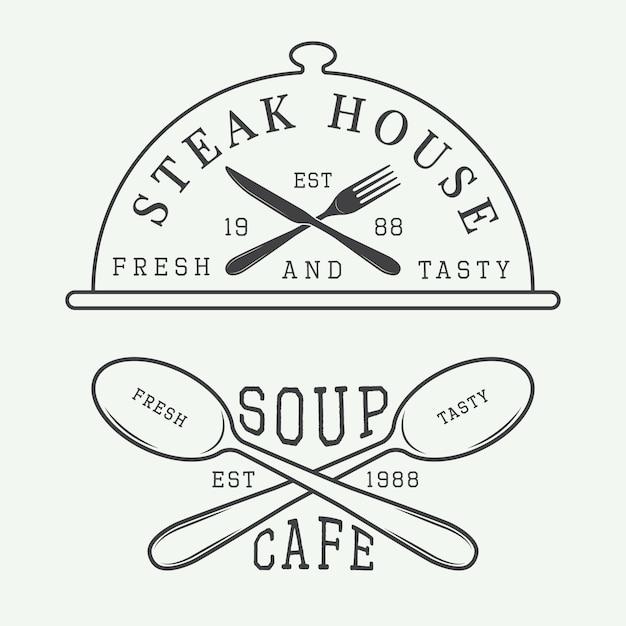 カフェとステーキハウスのロゴ Premiumベクター