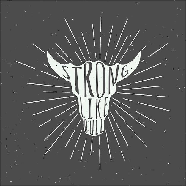 Лозунг бычьей головы Premium векторы