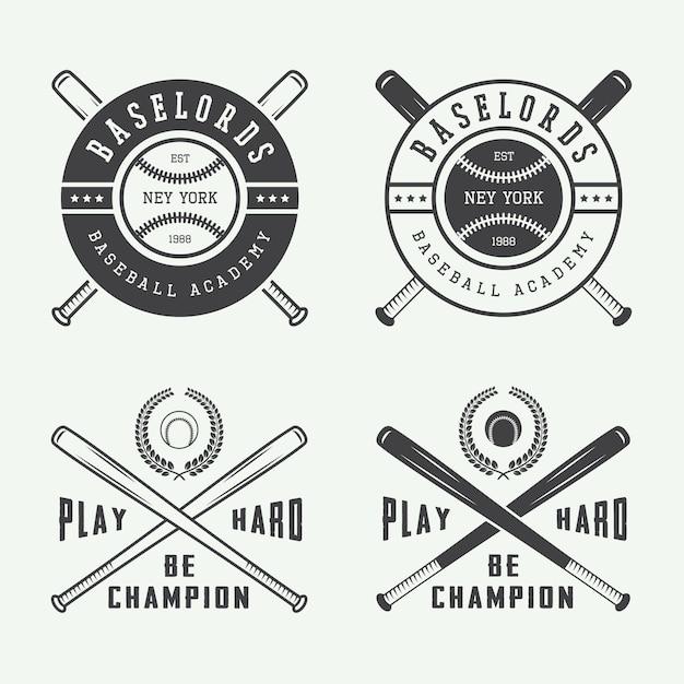 野球ロゴセット Premiumベクター