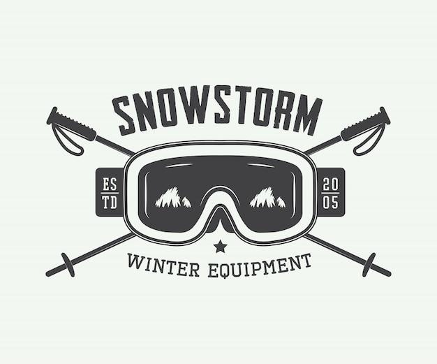 Эмблема зимних видов спорта. буран Premium векторы