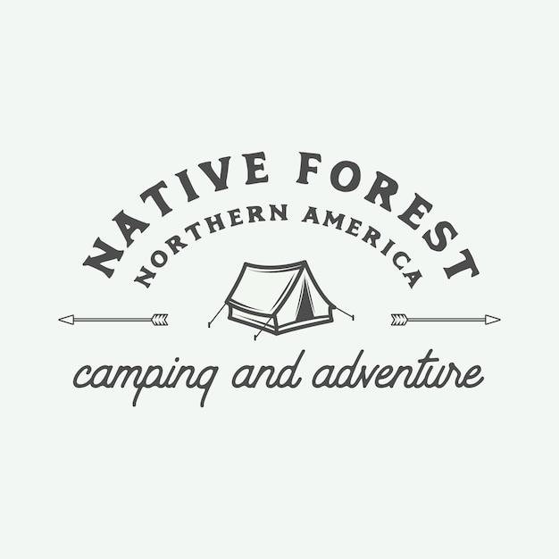 キャンプアウトドアと冒険のロゴ Premiumベクター
