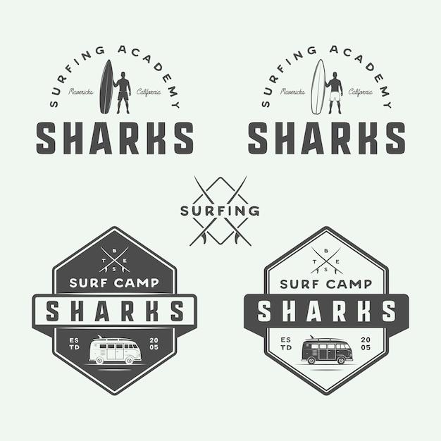 サーフィンと旅行のロゴ Premiumベクター