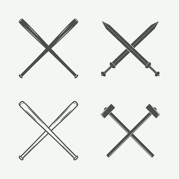 Крестовое оружие в стиле ретро Premium векторы