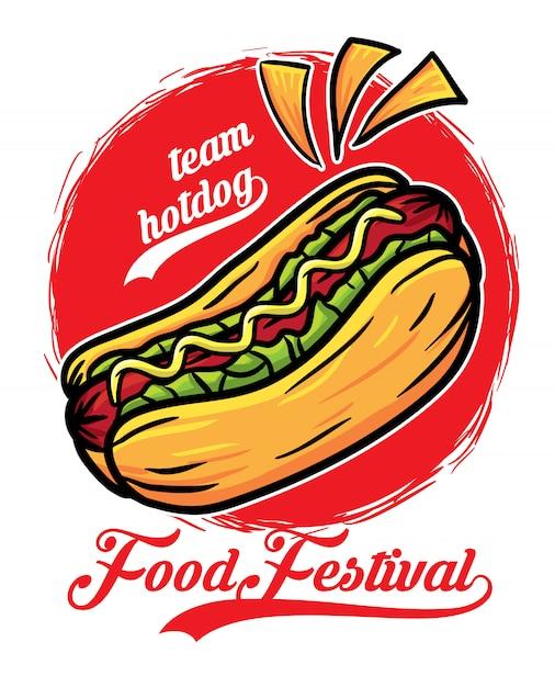Фестиваль еды сэндвичей с хот-догами Premium векторы