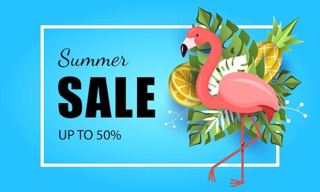 Летний баннер тропический лист фон фламинго Premium векторы