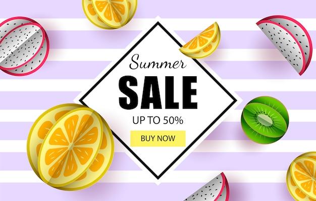 夏のバナー販売トロピカルフルーツ Premiumベクター