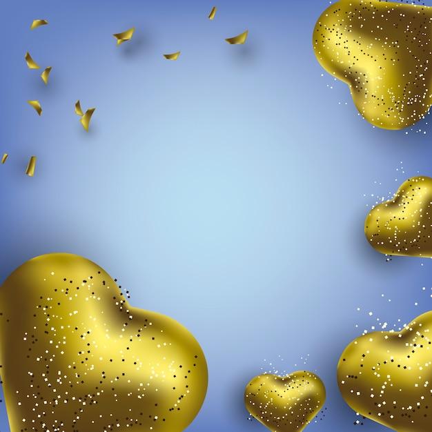ハート型の金色の風船で誕生日グリーティングカードの背景 Premiumベクター