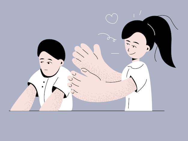 子供のイラストの自閉症症候群 Premiumベクター