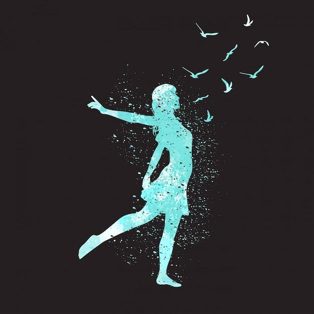 Акварель, танцы силуэт девушки с птицами. свобода Premium векторы