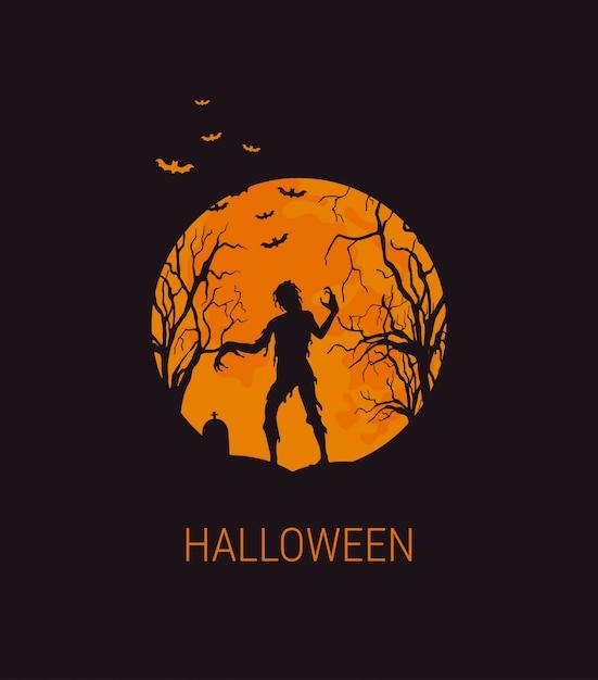 Хэллоуин иллюстрация с зомби Premium векторы
