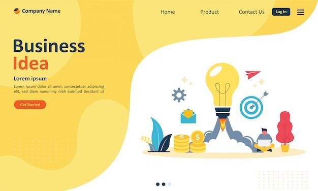 Бизнес-идея для веб-целевой страницы Premium векторы