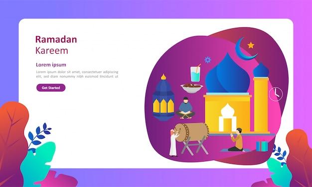 ラマダンカリーム人のキャラクターとフラットなデザインの挨拶 Premiumベクター