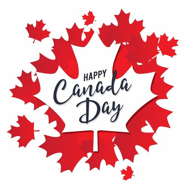 Счастливый день канады вектор шаблон с кленовыми листьями Premium векторы
