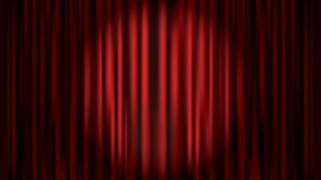 スポットライト、レトロな映画館、オペラ劇場ステージベクトルテンプレートに照らされた赤いカーテンの背景 Premiumベクター