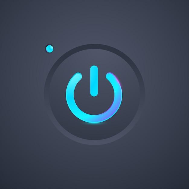 Футуристическая кнопка со значком питания Premium векторы