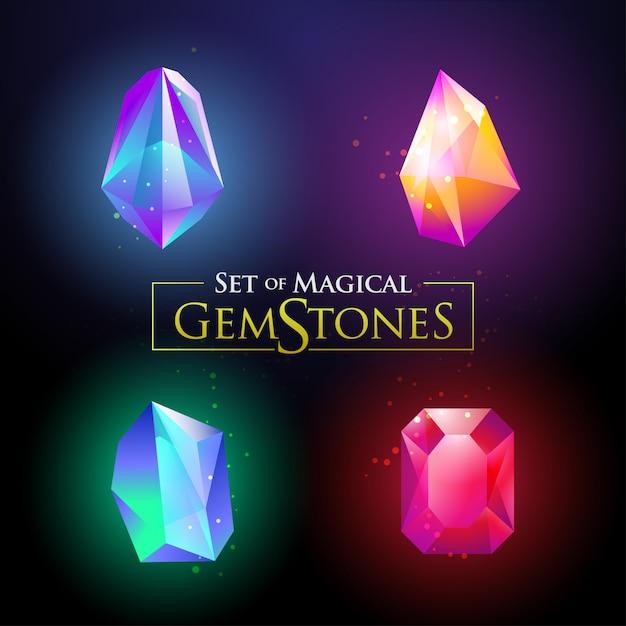 カラフルな光沢のある宝石用原石ベクトルイラストのセット Premiumベクター