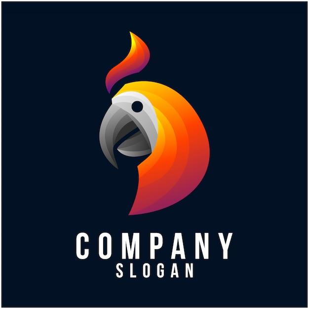 オウムのロゴデザイン Premiumベクター