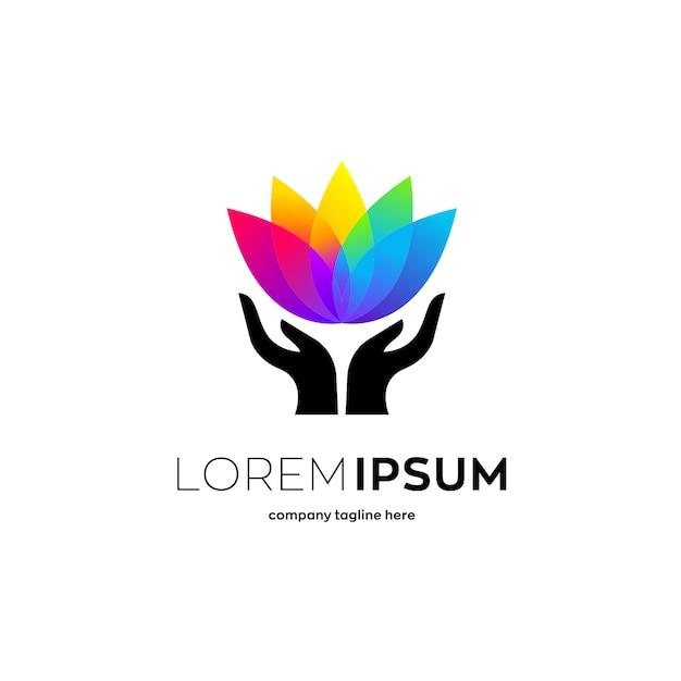 カラフルな蓮の花、ヒースのロゴのテンプレート Premiumベクター