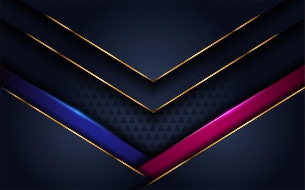 青とピンクのアクセントを持つ豪華な濃いネイビーの背景 Premiumベクター