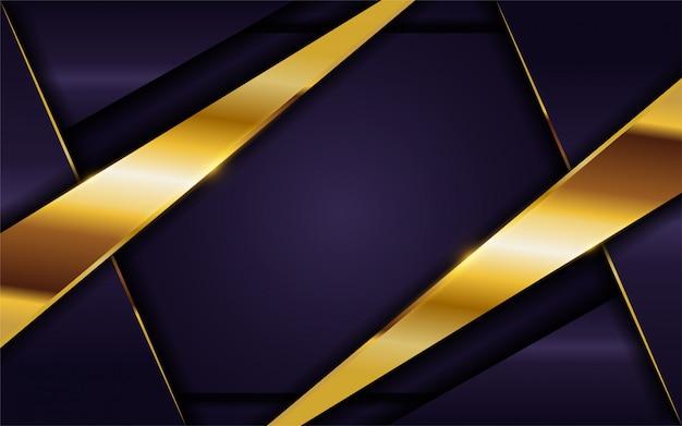 金色の線の組み合わせで豪華な濃い紫色の背景。 Premiumベクター