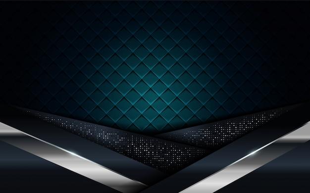 リアルなネイビーブルーは、シルバーとブラックのラインテクスチャ背景と組み合わせる Premiumベクター